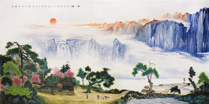 山水 瓷板画