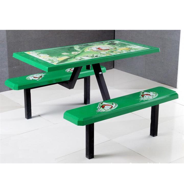 户外玻璃钢广告桌椅厂家批发 四人位条凳快餐桌椅订制