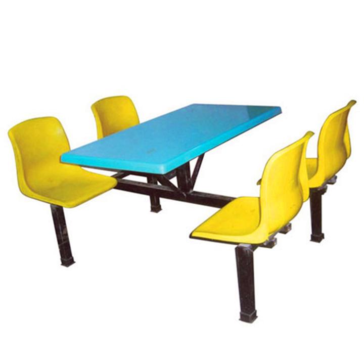 四人位塑胶靠背椅 食堂连体餐桌椅价格 惠州餐桌椅生产厂家
