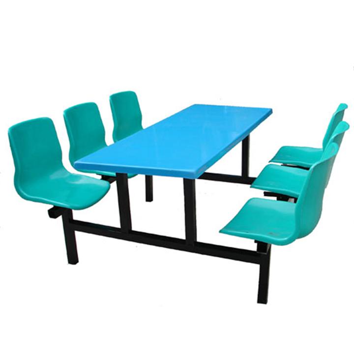 厂家批发 六人位玻璃钢连体靠背椅餐桌椅 学校工厂食堂餐桌椅