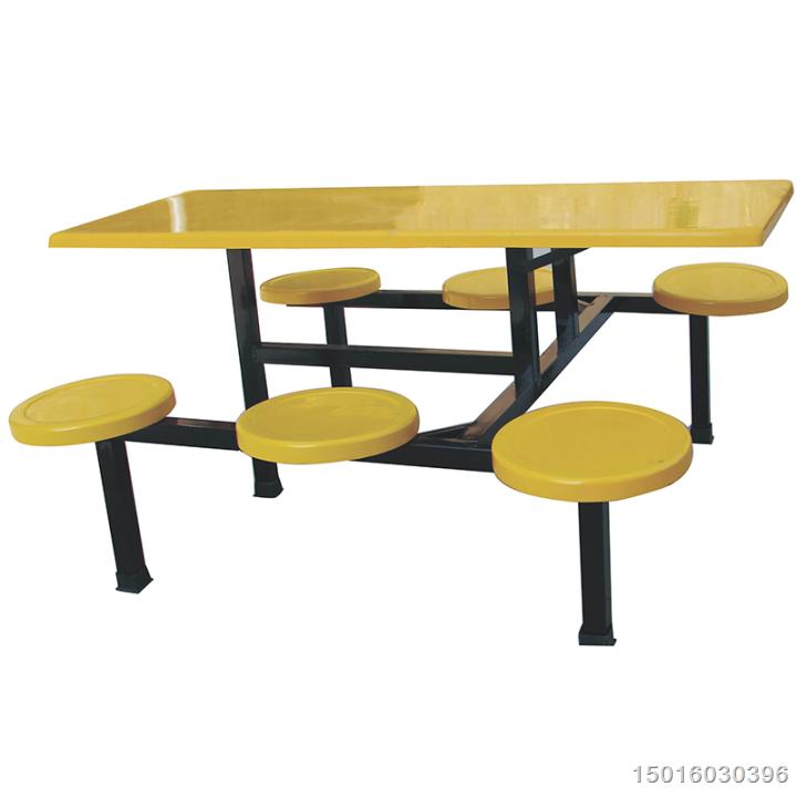 惠州食堂员工连体玻璃钢餐桌椅 学校快餐桌椅 餐桌椅批发