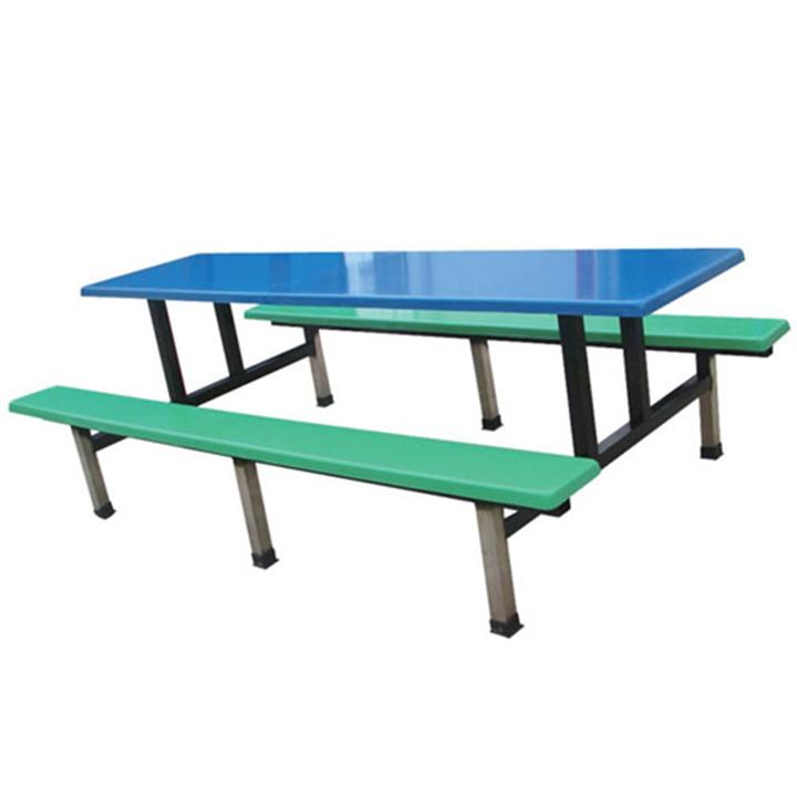厂家直销玻璃钢连体餐桌椅十人位不锈钢条凳员工食堂餐桌批发