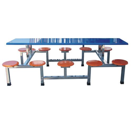 JXA007 十人不锈钢架圆凳餐桌