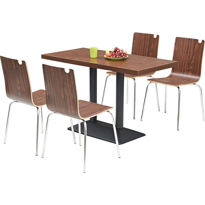 四人位分体餐桌 快餐店不锈钢餐桌椅 学校食堂餐桌椅图片