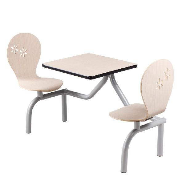 二人位连体餐桌 快餐店餐桌椅 学校食堂餐桌椅 曲木椅餐桌椅