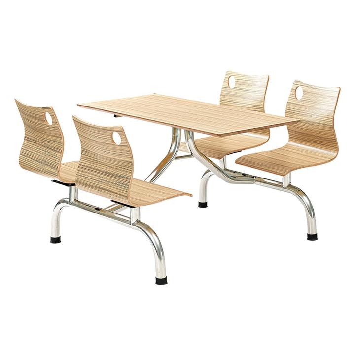 四人位连体餐桌 快餐店不锈钢餐桌椅 学校食堂餐桌椅图片