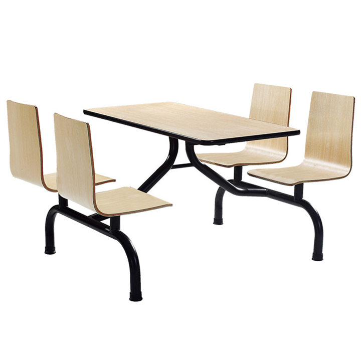 四人位连体餐桌 快餐店餐桌椅 学校食堂餐桌椅 曲木椅餐桌椅