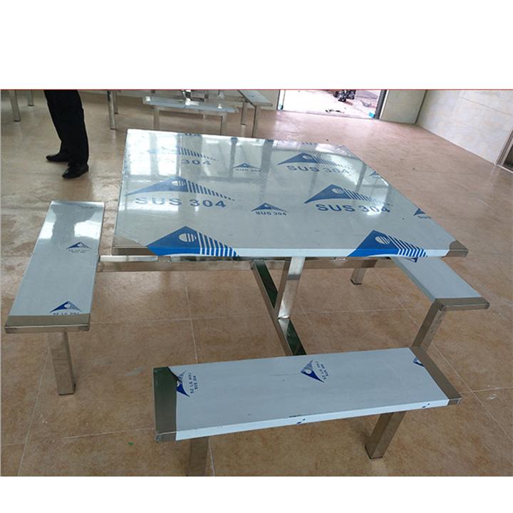 八人位连体不锈钢餐桌椅 食堂餐桌椅 生产厂家