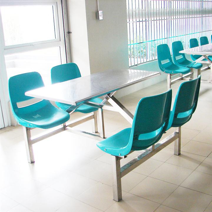 四人位分体餐桌 快餐店不锈钢餐桌椅 铁靠背餐桌椅