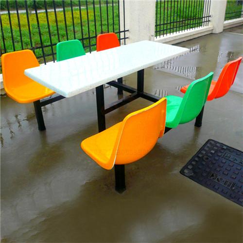惠州六人位玻璃钢食堂餐桌椅